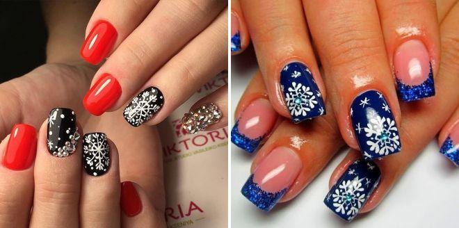роспись ногтей снежинки