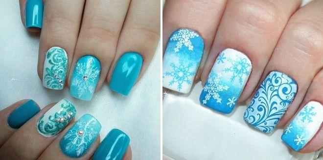 роспись ногтей снежинки 2018