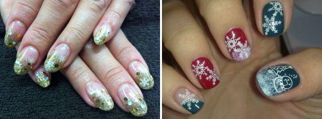 роспись на ногтях снежинки 2018