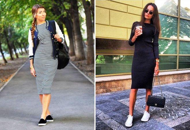 С чем носить обтягивающее черное платье