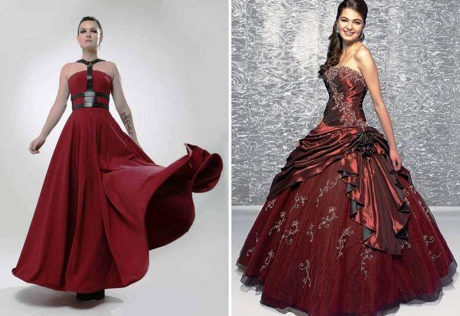 бордовое пышное платье