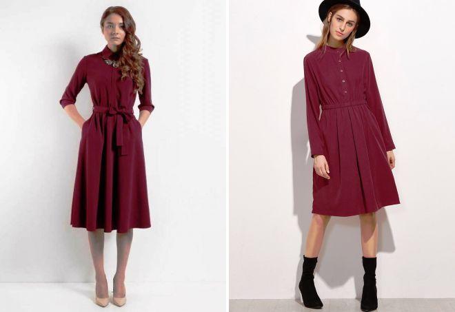 бордовое платье рубашка