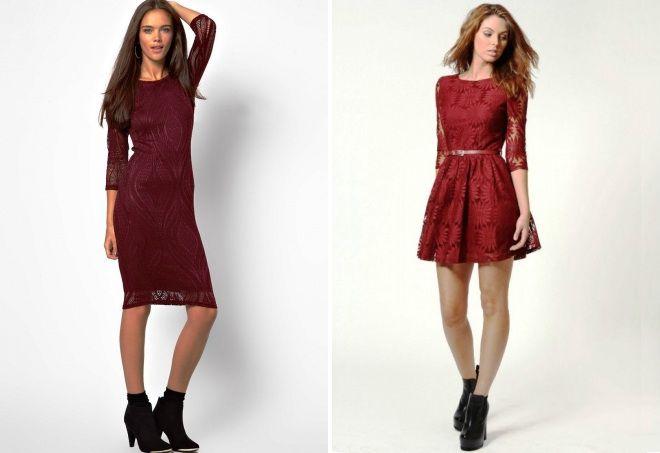 бордовое кружевное платье