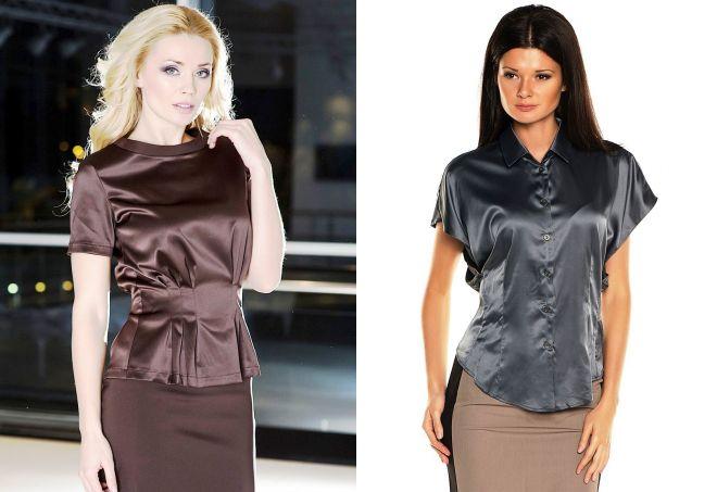 Модели блузок с коротким рукавом