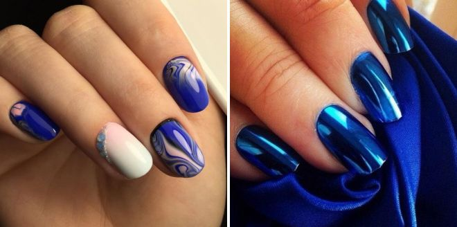 Дизайн ногтей с синим рисунком 808