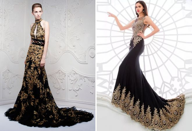 Платье Черное С Золотом