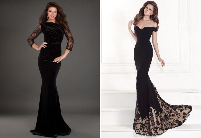 Черное длинное вечерние платья