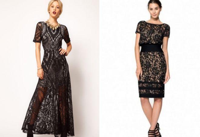 Платье Черное С Кружевами С Доставкой