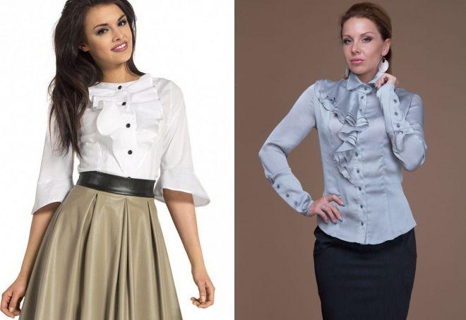 женские стильные блузки с воланами