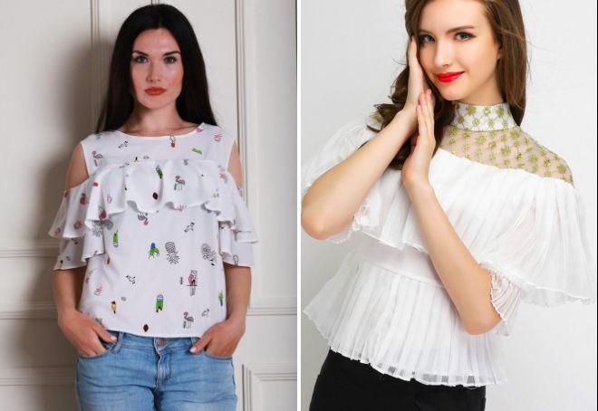 женские стильные блузки с рюшами