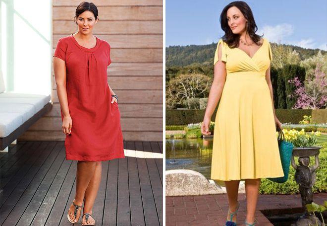 Летние платья для полных в стиле минимализм