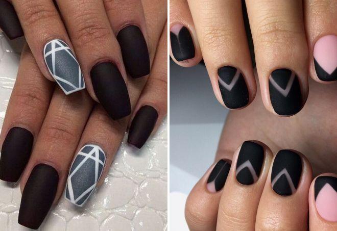 черный геометрический маникюр