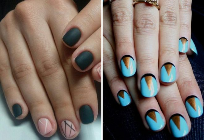 маникюр с геометрическим рисунком на короткие ногти
