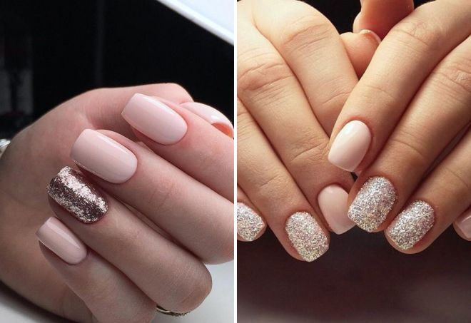 нежные ногти дизайн с блестками