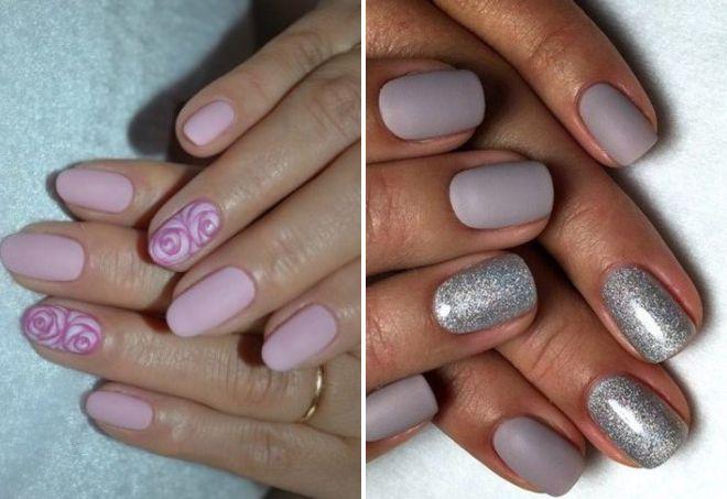 матовые ногти нежный дизайн