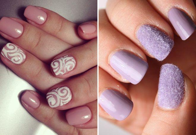 нежный дизайн ногтей с пудрой