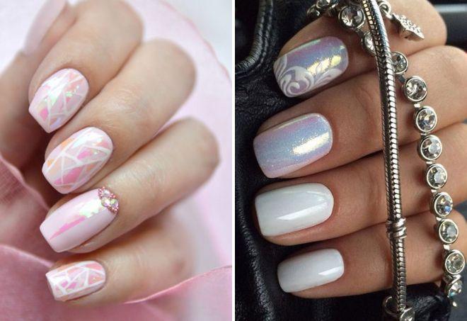 нежный блестящий дизайн ногтей