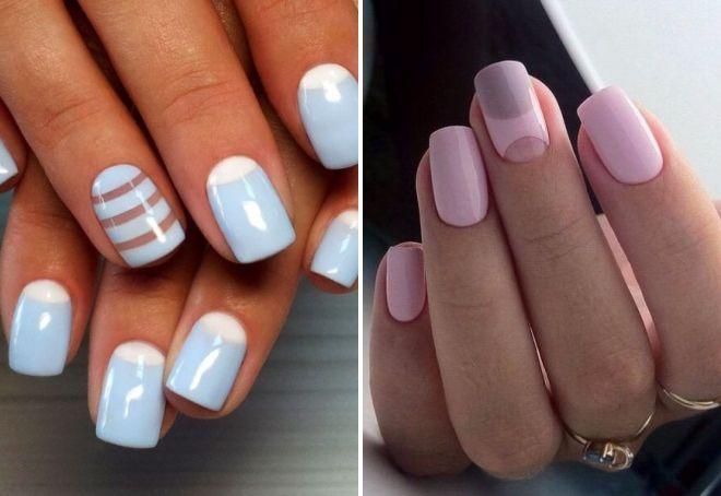 простой нежный дизайн ногтей