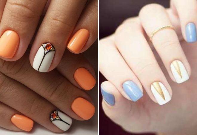 нежный дизайн на коротких ногтях