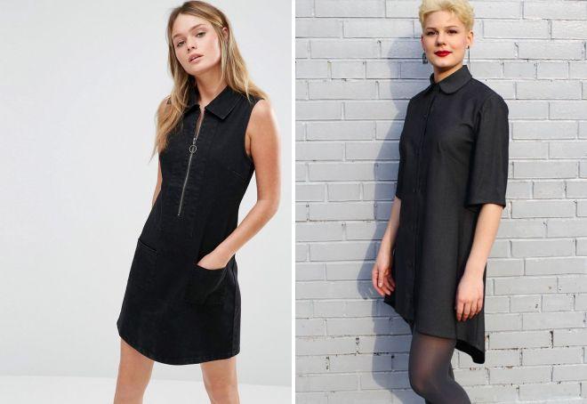 черное платье а силуэта