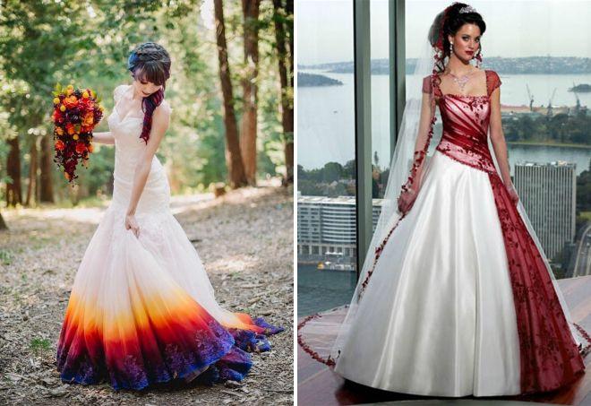 цветные свадебные платья 2017