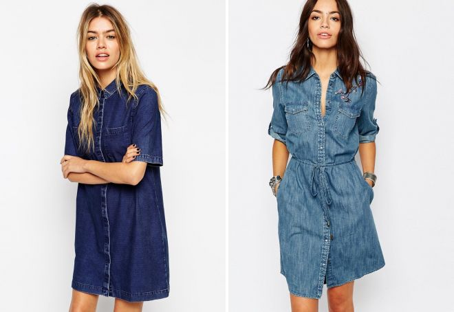 Джинсовые платья рубашки 2017 новинки