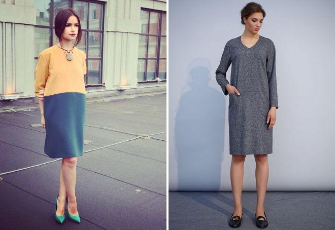 Платья прямые свободные до колена фото