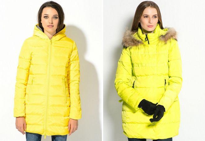с чем носить желтую куртку пуховик