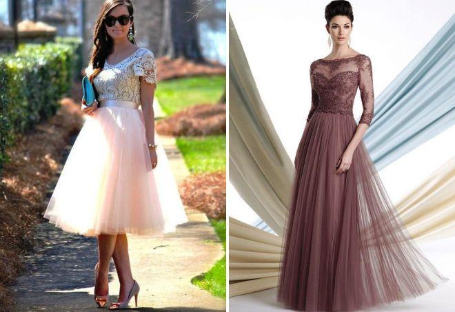платье из фатина и кружева