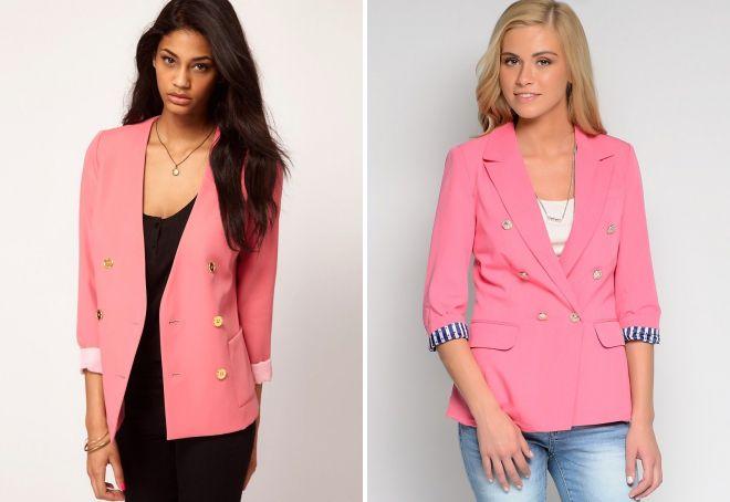 с чем носить бледно розовый пиджак