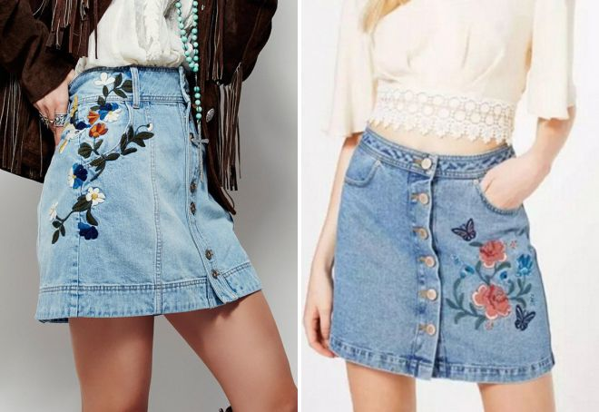 Красивые вышивки на джинсовые юбки