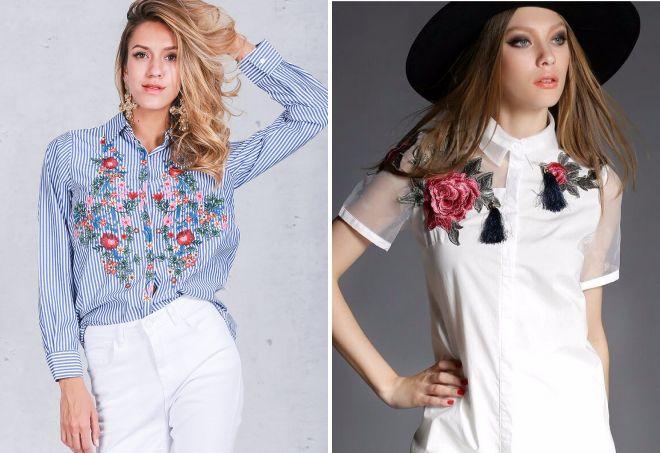 женские стильные рубашки с вышивкой