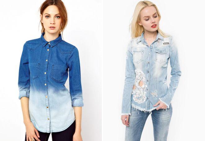 стильные женские джинсовые рубашки