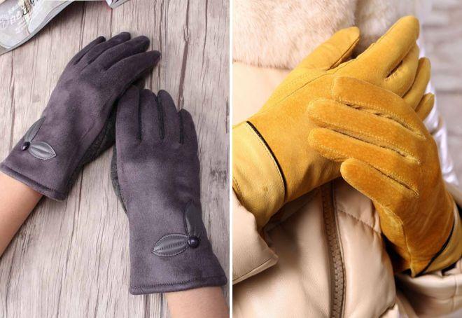 женские замшевые зимние перчатки