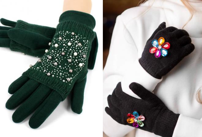 женские перчатки на зиму