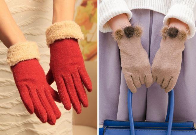 теплые зимние женские перчатки