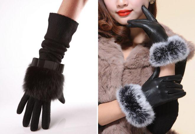 женские зимние перчатки на меху