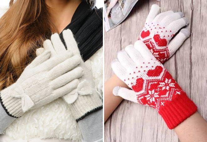 женские зимние вязаные перчатки