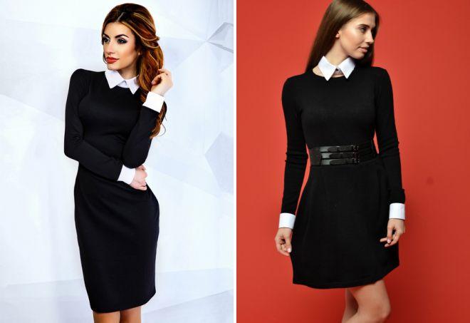 Черное Платье С Белым Воротником И Манжетами Купить