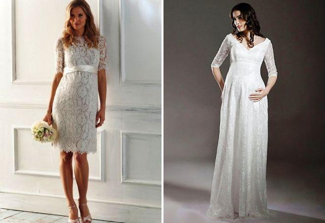 кружевные свадебные платья для беременных