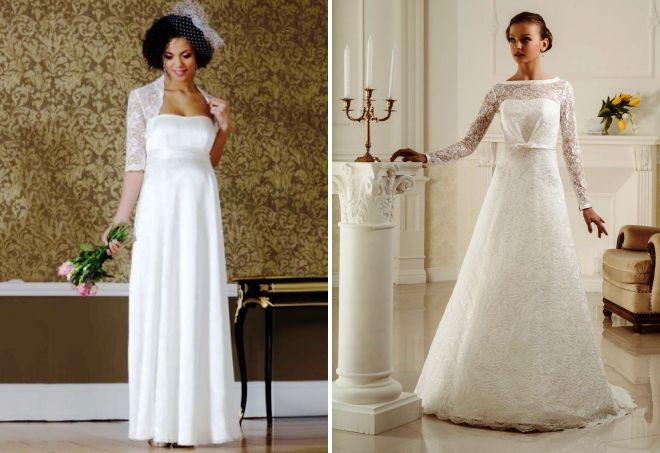 закрытое свадебное платье для беременных