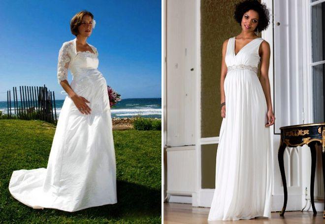 беременные девушки в свадебных платьях