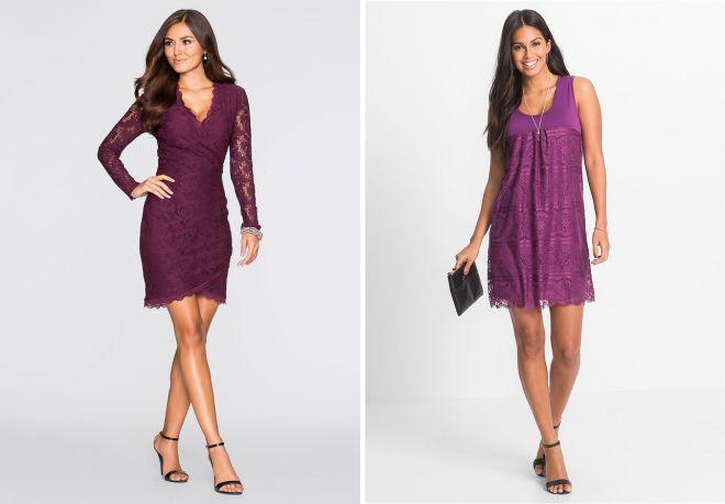 Фиолетовое гипюровое платье
