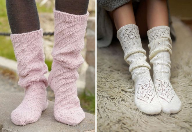 вязаные высокие носки