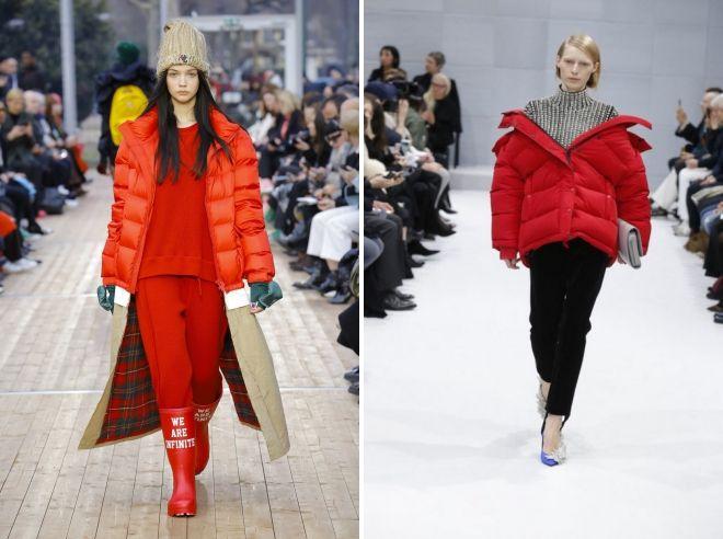 с чем носить красный пуховик женщинам