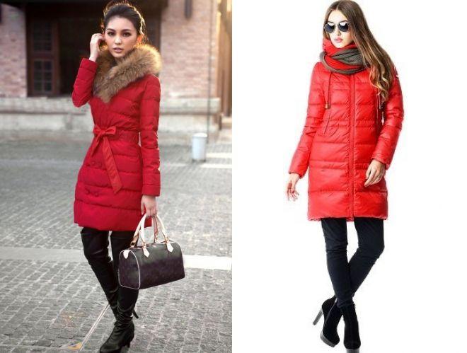 с чем носить красную куртку пуховик
