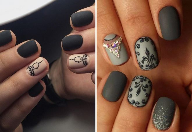 Матовый маникюр 2017 модные на короткие ногти