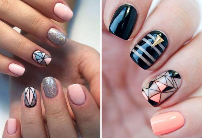 маникюр 2017 на короткие ногти геометрия