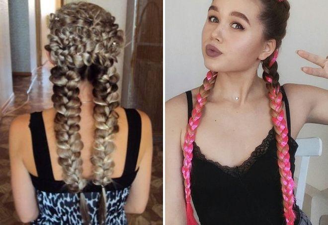 французские косы с канекалоном
