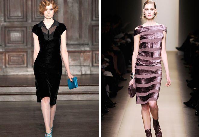 Платье а силуэта из бархата